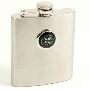 7 oz. Stainless Steel Compass Flask