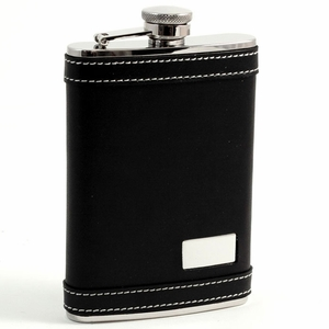 8 oz. Stainless Steel Black Leather Flask