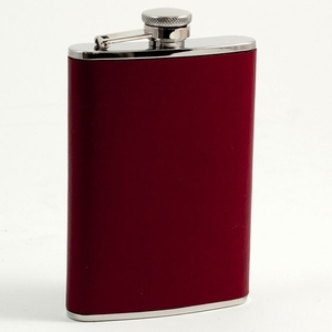 8 oz. Stainless Steel & Burgundy Leather Flask