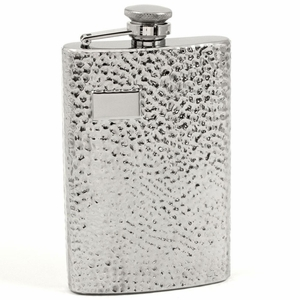 8 oz. Stainless Steel Hammered Flask