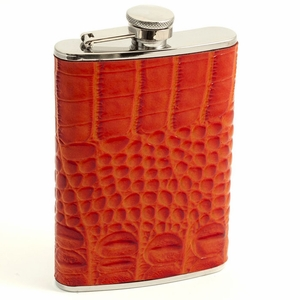 8 oz. Stainless Steel Orange Croco Leather Flask