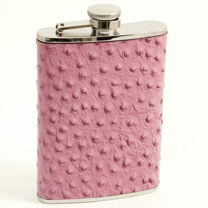 8 oz. Stainless Steel Pink Ostrich Leather Flask