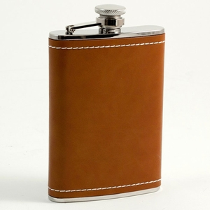 8 oz. Stainless Steel & Saddle Brown Leather Flask