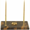 Black and Tan Marble Legal Double Pen Stand