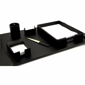 Black Leather Desk Set (6 Piece)