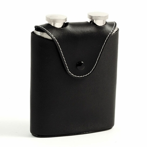 Black Leather Flask Set