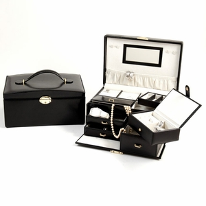 Black Leather Jewelry Box, Dual Level