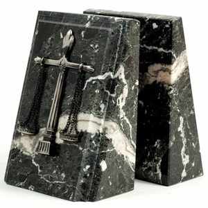 """Black Zebra"" Marble Legal Bookends w/ Scales of Justice"