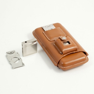 Brown Leather Three Cigar Case with Cutter and Lighter