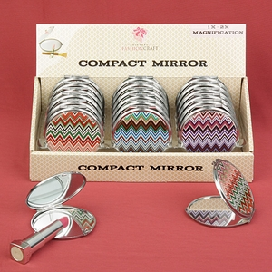 Chevron design mirror compacts (sets of 18)