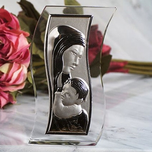 Crystal S shaped glass Madonna icon
