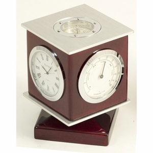 Cube Clock Thermometer Hygrometer Compass