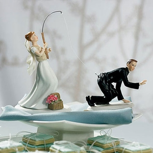 Fishing Bride and Groom Figurines