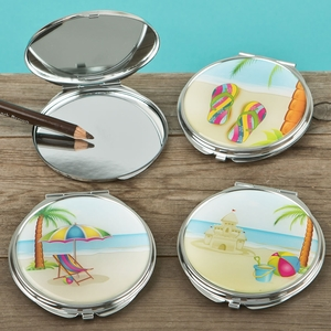 Fun Beach scene compact mirrors from gifts by fashioncraft (Set of 18)