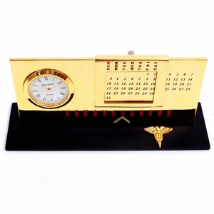 Gold Plated Dental Perpetual Calendar With Clock