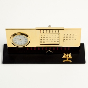 Gold Plated Legal Perpetual Calendar With Clock