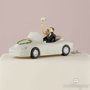 Honeymoon Bound Couple in Convertible Car Cake Topper
