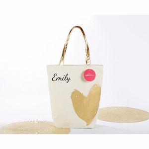 Metallic Gold Heart Tote Bag - Personalization Available