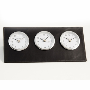 Multi Time Zone Clock in Leather