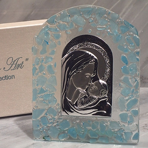 Murano Art Deco Collection Arch Glass Virgin Mary & Jesus
