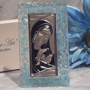 Murano Art Deco Collection Rectangular Blue Glass Icon