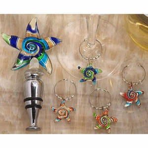 Murano art deco combination set starfish stopper and wine charms