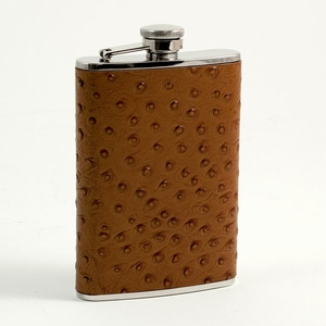 Ostrich Print Leather Flask