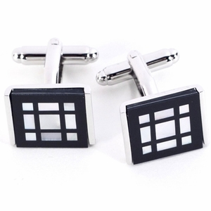 Rodium Plated Cufflinks  with  Square Pattern