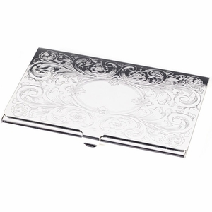 Silver Card Case (Floral Embossed)
