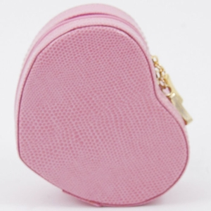 Small Pink Lizard Leather Heart Jewelry Case