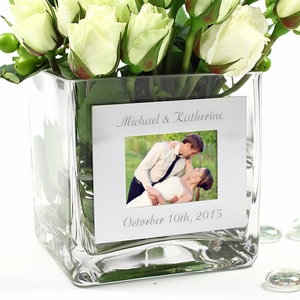 Square Glass Vase & Photo Frame
