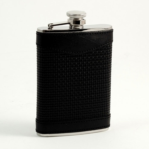 Stainless Steel Flask in Woven Black Leather, 8oz.