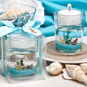 Stunning beach-themed candle favor