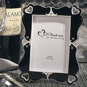 Stylish Hearts Black and White Photo Frame Favor