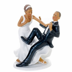 Taking the Plunge Ethnic Bride and Groom Funny Cake Topper