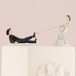 """Western Wedding """"Roped"""" Bride and Groom Cake Topper"""