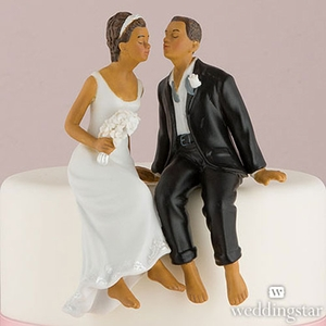 Whimsical Bliss Sitting Ethnic Bride and Groom Figurines