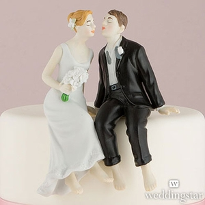 Whimsical First Kiss Bride and Groom Figurine