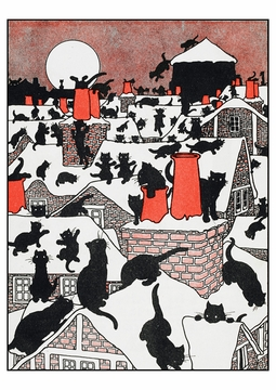 A Black Cat Holiday Postcard