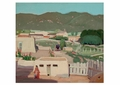 Adobe House with Woman in Red Notecard