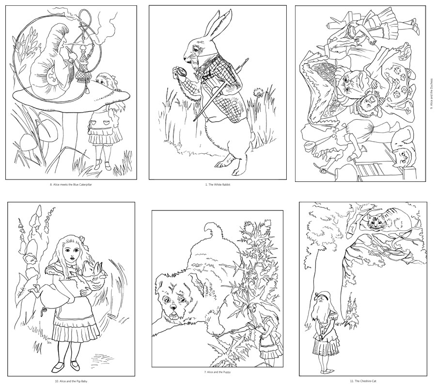alice in wonderland coloring book pages - alice in wonderland coloring book