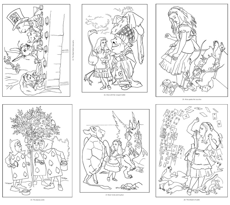 alice in wonderland coloring book - Alice Wonderland Coloring Pages