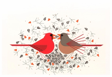 Cardinal Courtship Birthday Card
