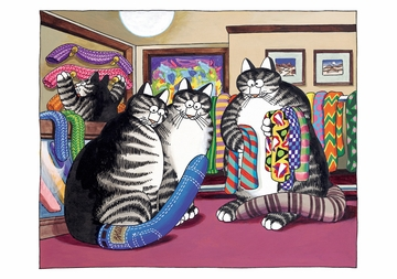 Cats Trying on Cat Tails Notecard