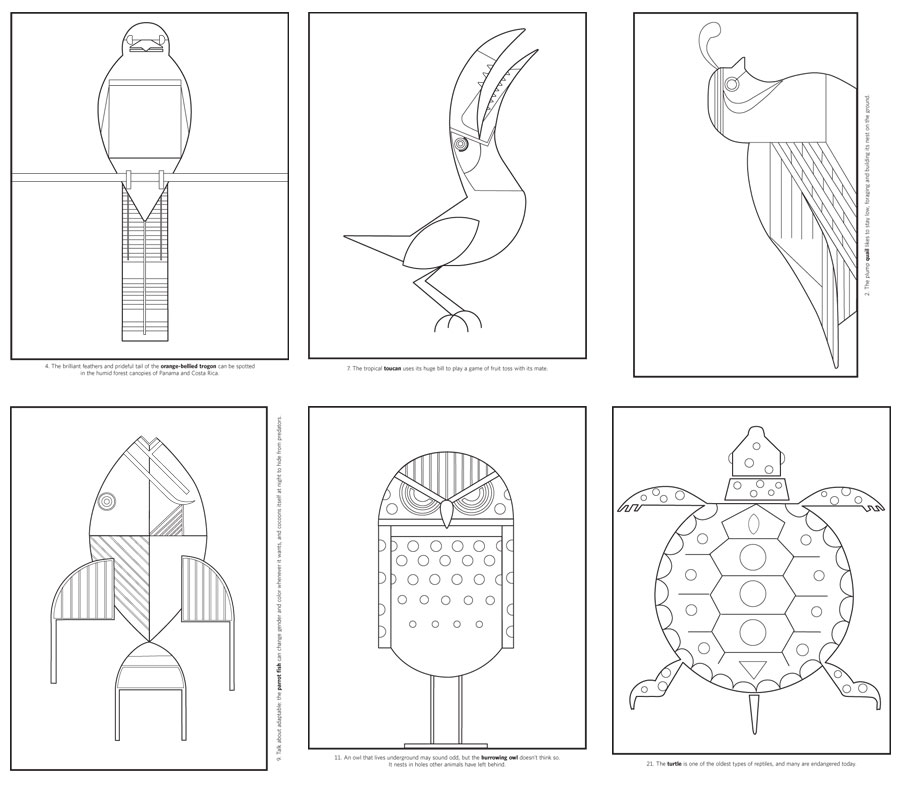 Charley Harper Coloring Book Of Birds   Coloring Page