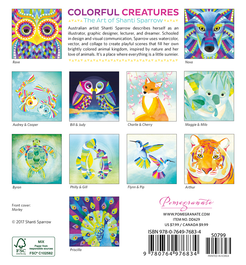 Colorful Creatures The Art of Shanti Sparrow 2018 Mini Wall Calendar