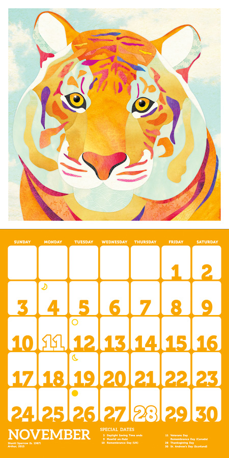 Colorful Creatures: The Art of Shanti Sparrow 2019 Sticker Wall Calendar