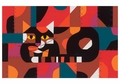 Crazy Cat, Crazy Quilt Notecard