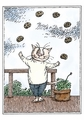 Edward Gorey: Cat Juggling Cookies Birthday Card