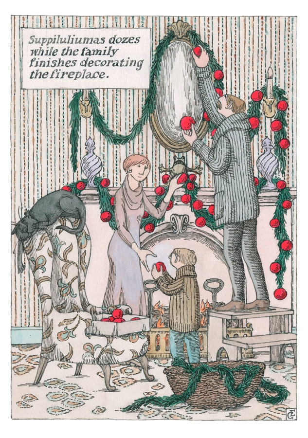 Edward Gorey: Decorating the Fireplace Holiday Cards